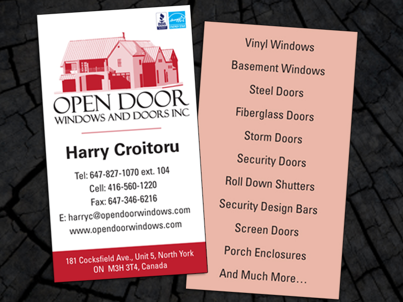 Business cards lj sales open door windows and doors business card reheart Images